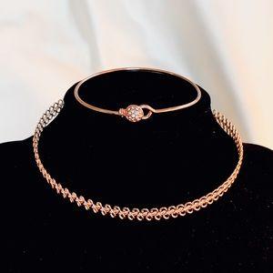Jewelry - 🍉3/$20 Set! Rose Gold Choker Necklace + Bracelet